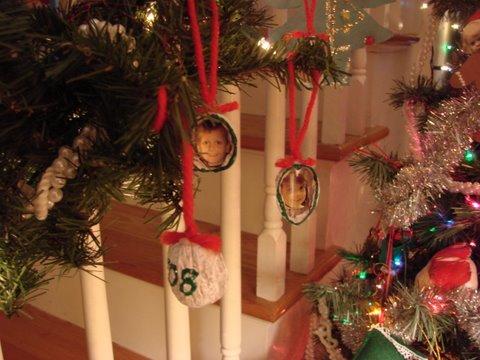 Photo ornaments made from walnut shell halves