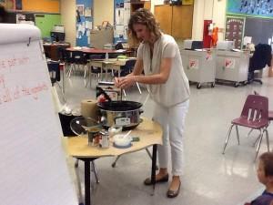 Kristen making pumpkin pudding